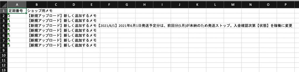 「ショップ用メモ」アップロード用のCSVファイルデータサンプル